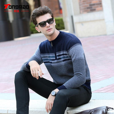 - 100% Wool Mens Sweater Autumn Winter Warm Zipper O-Neck Slim Fit Men Pullover Fashion Striped Solid Color Sweaters Men Knitwear - Gray / L  jetcube