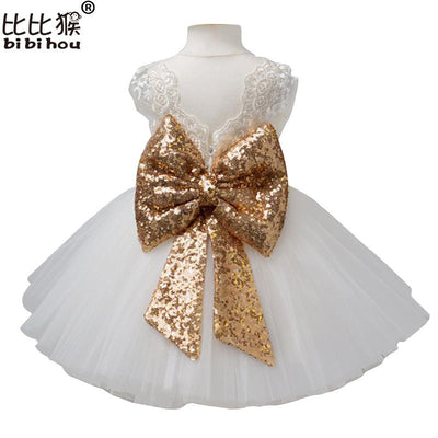 - 0-5Y Girls Tutu dress Kids wedding christmas costume baby girl white sleeveless lace bowtie dress children party princess dress -   jetcube