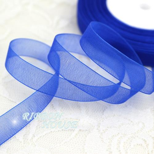 - (50 yards/roll) 1/2''(12mm) organza ribbons wholesale gift wrapping decoration Christmas ribbons - Blue  jetcube