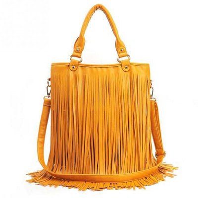 - 2016 Fashion Womens Vintage Faux Suede Fringe Tassle PU Leather Satchel Shoulder Handbag Crossbody Bag -   jetcube