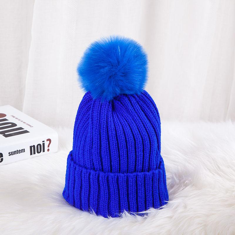 - 0926XB Skullies & Beanies Kid Solid Hats Real pompom hat winter hats for women knitted hat beanie women girls 10 colorst XB-A415 - Blue / Children  jetcube