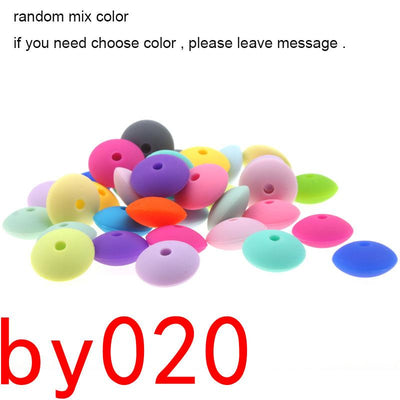 - 100pcs Flat Lentils Silicone Teething Beads Teething Necklace Abacus Silicone Bead Baby Teether Spacer Beading12*6MM JETM.HH - by0200mix color  jetcube