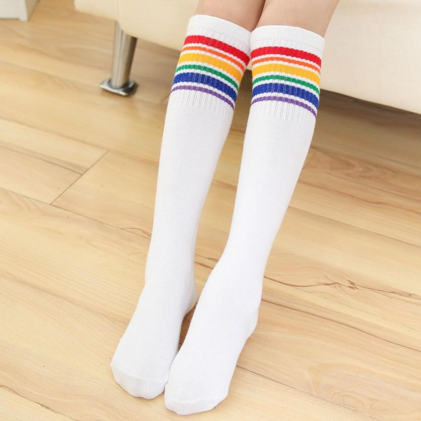 - 1 Pair Women Girl Student Colorful Striped Stockings Autumn and Winter Black White Rainbow print Cute Over Knee Socks calcetines -   jetcube