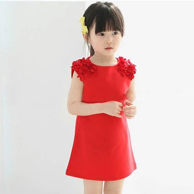 - 2-7Y Baby Girls Dress Sleeveless Sundress Dress Party Princess Dress Floral Dress - Red / 2T  jetcube