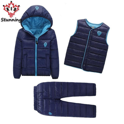 - 2-7 Years Baby Boys Girls Coats Brand 2017 Winter Boys Down Jackets Casual Snow Wear Girls Clothing Sets 3Pcs Outerwear & Coats -   jetcube
