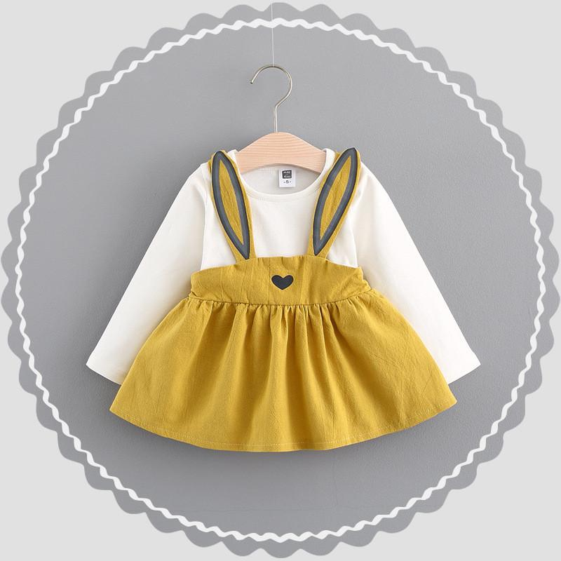 - 0-2 ages cotton 2017 spring autumn cartoon cute character rabbit pattern kid children clothing baby girl dress princess dress - Gold / 12M  jetcube