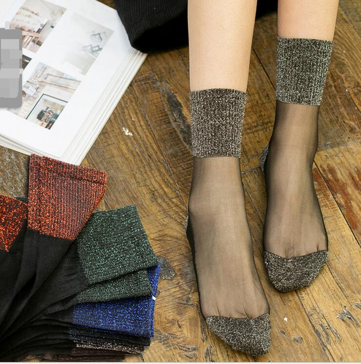 - 1 Pair Hot Sale 2018 Shiny Socks New Fashion Glitter silver Flanging Wild In Tube Socks Transparent Elastic Hosiery -   jetcube