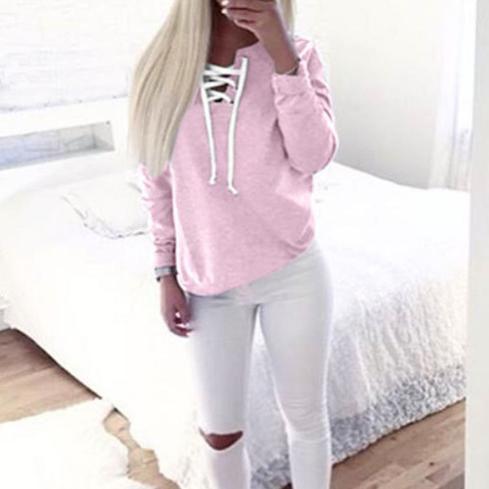 2017 Autumn Winter Chic Lace up Sweatshirt Women tops ladies Sweatshirt Warm Long Sleeve Pullovers Girls Knitted Hoodies