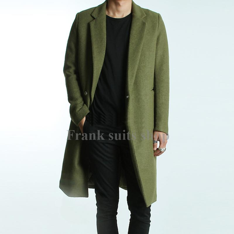 Custom made 2017 Men's Green Woolen Trench Coats Slim Fit Brand Fashion British Style Windbreaker Overcoat
