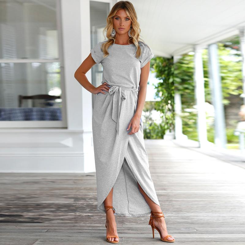 Women Summer Dress Bohemian Asymmetrical Solid Ankle-length Empire O-neck High Quality dress