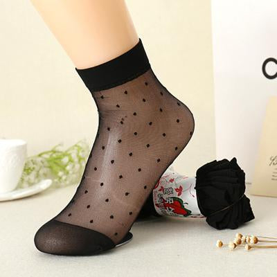 - 10 Pairs/Lot Women Transparent Socks Autumn Crystal Silk Thin Socks Female Candy Color Dot Socks New Women's Clothing Wholesale -   jetcube