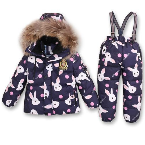 - -30Degrees Russia Winter Ski Jumpsuit Children Clothing Boys Girls Sport Suit Kids Snow Wear Jackets coats Bib pants Waterproof - rabbit / 24M  jetcube