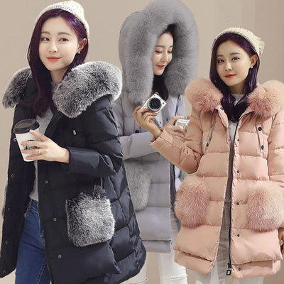 - 2016 High Quality Winter Long Down Jacket Women Real Fox Fur Hooded Coat Duck Down Parkas Jackets Plus Size 5XL -   jetcube