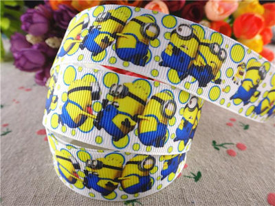 - 17013007, 1'' 25mm 10 yards cartoon printed grosgrain ribbons minions ribbon diy handmade accessories -   jetcube