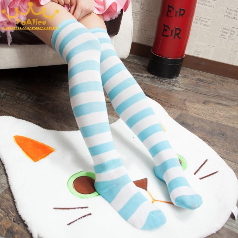 - 1Pair New Women Girls Over Knee Long Stripe Printed Thigh High Striped Patterned Socks 7 Colors Sweet Cute Warm Wholesale Lot -   jetcube
