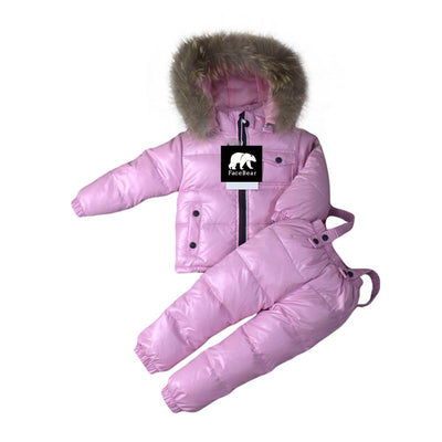 - -30 degree Russia Winter children's clothing girls clothes sets for new year's Eve boys parka jackets coat down snow wear - pink / 2T  jetcube
