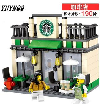 - (YNYNOO)Single Sale Mini Street Scene Retail Store Shop Architecture With Building Blocks Sets Model Toys FW138 - Black  jetcube