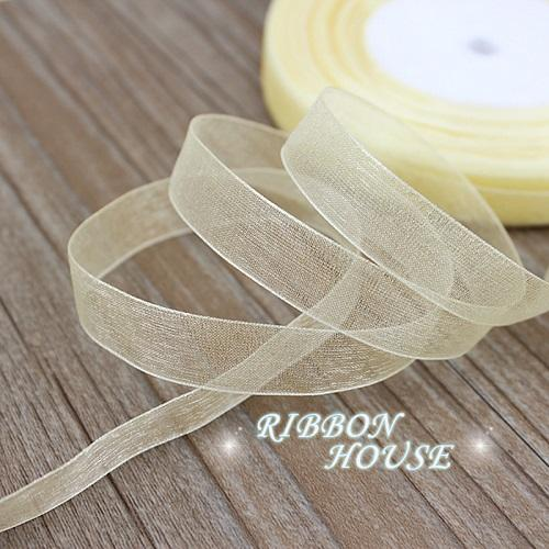 - (50 yards/roll) 1/2''(12mm) organza ribbons wholesale gift wrapping decoration Christmas ribbons - Light Yellow  jetcube