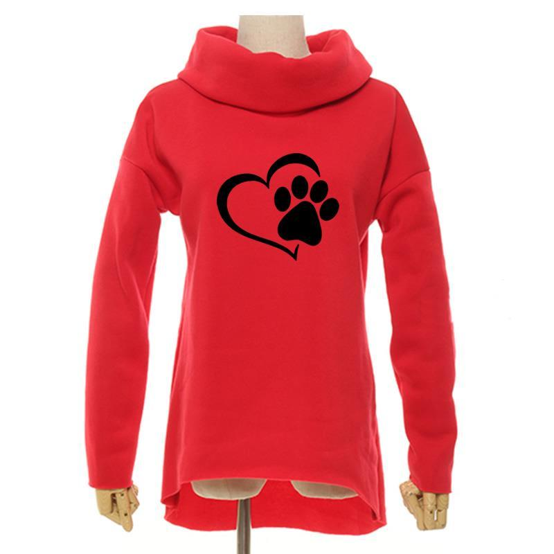 2018 fashion heart cat footprint pattern christmas clothes women hoodies winter scarf collar casual sweatshirts pullovers