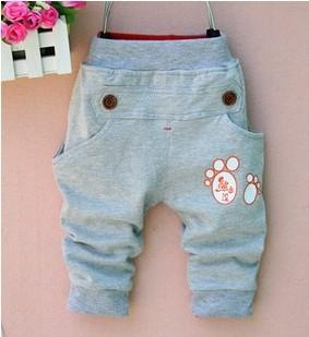- (1piece /lot) 100% cotton 2015 new lucky trousers for children - Gray / 12M  jetcube
