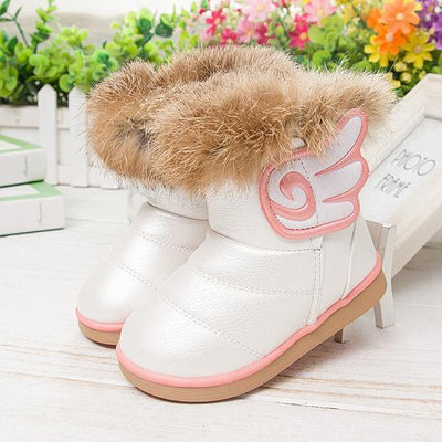 - 2016 fashion children shoes children boots snow boots girls boots cotton shoes leather - white / 10.5  jetcube