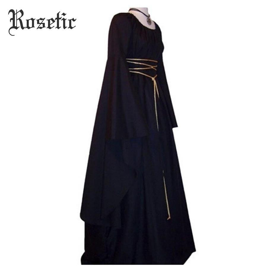 Rosetic Medieval Maxi Gown Goth Vintage Women Spring Lace-Up O-Neck ...