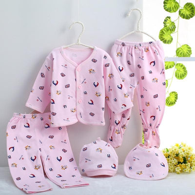- 0-3M Newborn Infant Baby Girls boys Clothes Long-sleeved shirt,pants,hat,scarf 7pcs 5pcs Outfit Kids Clothing Set Factory cheap - 5PCS 05 / 3M  jetcube