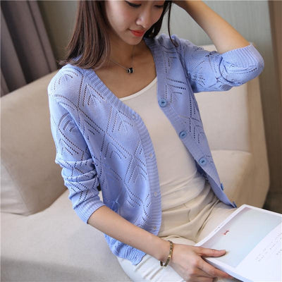 - 18 new women's Korean long sleeved knit cardigan collar hollow V simple air conditioning shirt female coat F1844 - long blue / One Size  jetcube