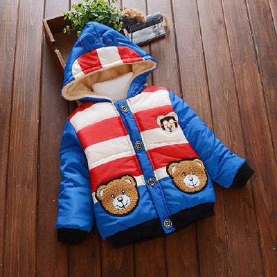 - 2016 Hot autumn winter Kid Fashion Jacket Boy and girl Cashmere Long Sleeve Hooded Clothing Children Warm Coats - Blue / 2T  jetcube