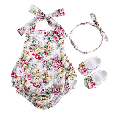 - 0-1 Year First Birthday Baby Show Floral Baby Clothes Girls Cute Headband Bebe Shoes 3 PCS set;Props Cotton Baby Rompers Overall - 7E3039 / 12M  jetcube
