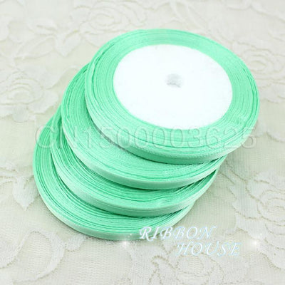 "- (25 yards/roll ) 1/4"" (6mm) Light Green Single Face Satin Ribbon Webbing Decoration Gift Christmas Ribbons Wholesale -   jetcube"