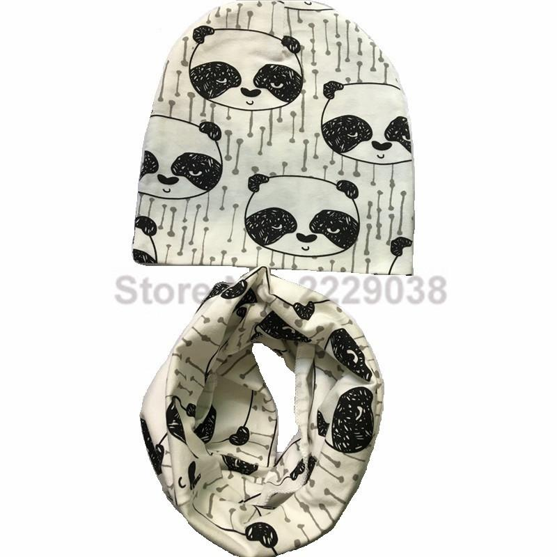 2017 Autumn Winter animal print Cotton Baby Hat scarf Girl Boy beanies Toddler hat scarf set Kids Caps baby child cap