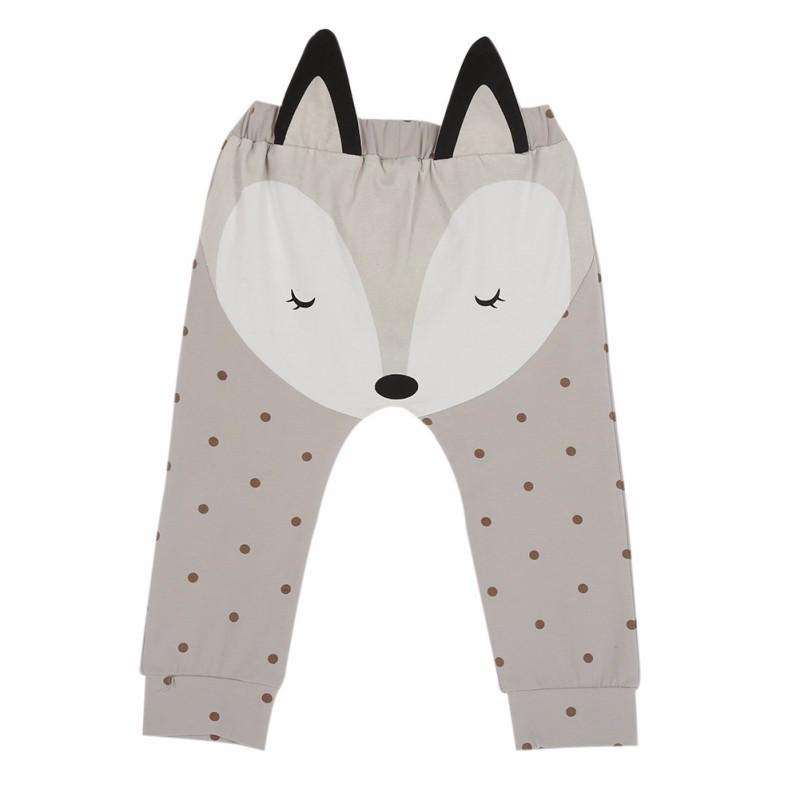 2017 Autumn Winter Boys Girls Pants Children's Clothing Cotton Baby Fox Pattern Long Trousers Boy Girl Harem Pants Kids Clothes