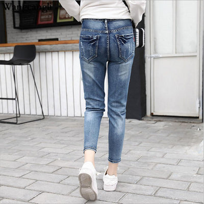 wangcangli 2017 women Nine minutes of pants big Jeans with high waist harem pants of Ladies elasticity jeans blue Large Size 5xl
