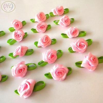 - 100pcs pink color ribbon rose handmade flowers garment supplies sewing appliques diy accessories wedding decoration A424 -   jetcube