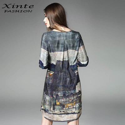 - 100% Real Silk Dress 2017 Women Spring Vintage A-line Printing Loose Plus Size Dresses Top Quality Three Quarter Sleeves -   jetcube