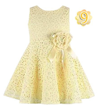 - 0-2 Years New Gift Summer Lace Vest Girls Dress Baby Girl Cotton Dress Chlidren Clothes Kids Party Clothing For Girls - Light yellow / 12M  jetcube