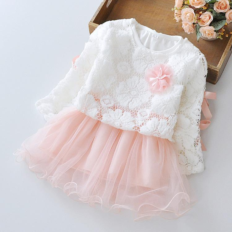648f249ffa6c 2018 Spring Summer Baby Girl Dress Long Sleeve Lace Mesh Baby Party ...