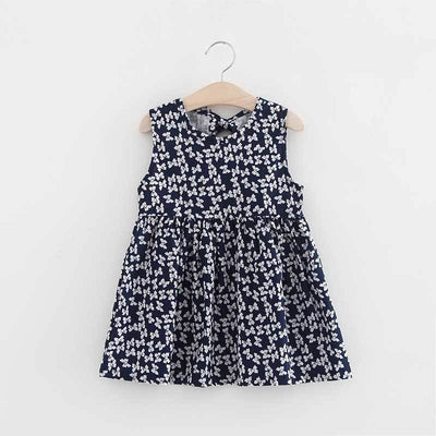 - 2-7y Girls Clothing Summer Girl Dress Children Kids Berry Dress Back V Dress Girls Cotton Kids Vest dress Children Clothes 2017 - navybow / 2T  jetcube