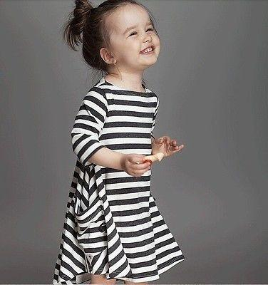 - 2-7Y Child Kids Girls Long Sleeve Dress Cotton Casual Dresses Daily -   jetcube