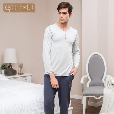 2017 Autumn Brand New Homewear Couples Causal Pajama sets Men Cotton Sleepwear suit Men Long sleeve V-neck collar shirts + pants  dailytechstudios- upcube