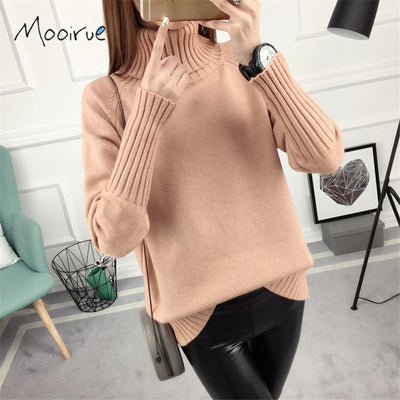 Mooirue Autumn High Neck Women Sweater Long Sleeve Loose Knitting Pullovers Thicken Pink Sweater For Winter