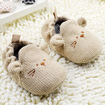 - 0-18M Newborn Toddler Knit Shoes Boys Girls Cute Mouse Crib Shoes Cartoon Bootee First Walker -   jetcube