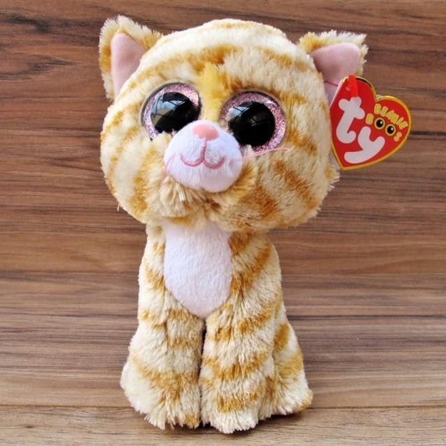 "Pyoopeo Ty Beanie Boos 6"" 15cm Tabitha the Cat Plush Regular Stuffed Animal Collectible Soft Big Eyes Doll Toy"
