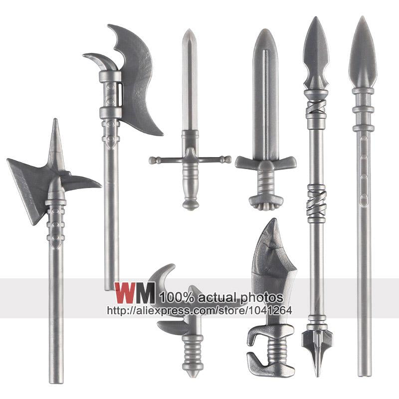 - 10pcs/lot Latest Weapon Sword Helmet Armor Shield Accessories Building Blocks Bricks Medieval Knight Weapons -   jetcube