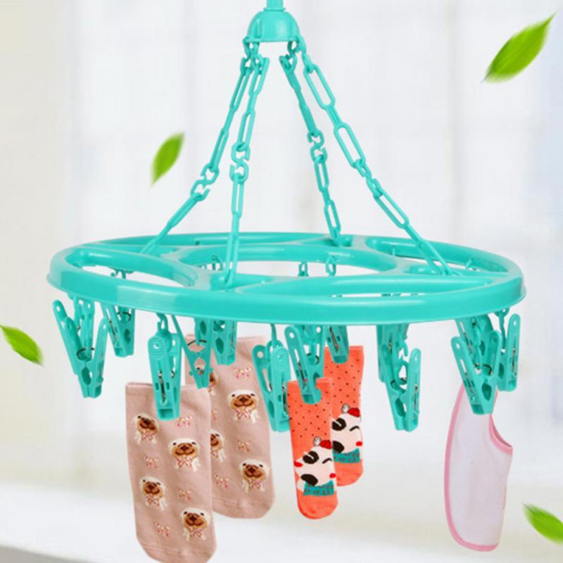 - 18Pcs Clothing Hanging Clips Plastic Multifunctional Round Spring Clothes Hanger Clothing Dryer Rack with Clip -   jetcube