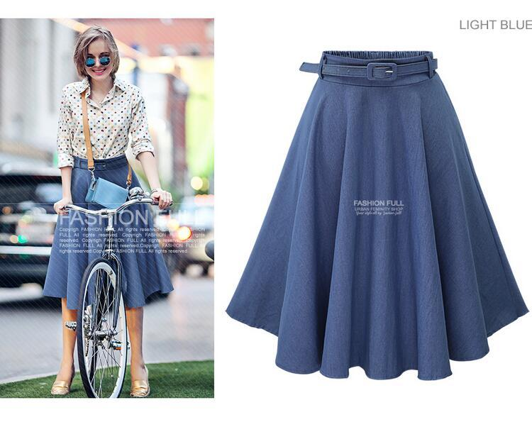 2017 Autumn Winter Fashion Women Skirt Vintage Retro High Waist Pleated Midi Skirt Denim Flared Belt Skirt Saia Femininas SK098