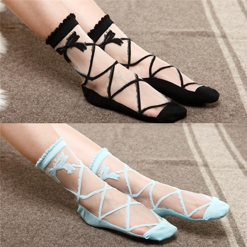 7690834074f 1 pair Female Summer Bowknot Sheer Mesh Bow Knit Frill Trim Transparent  Crystal Lace Ankle