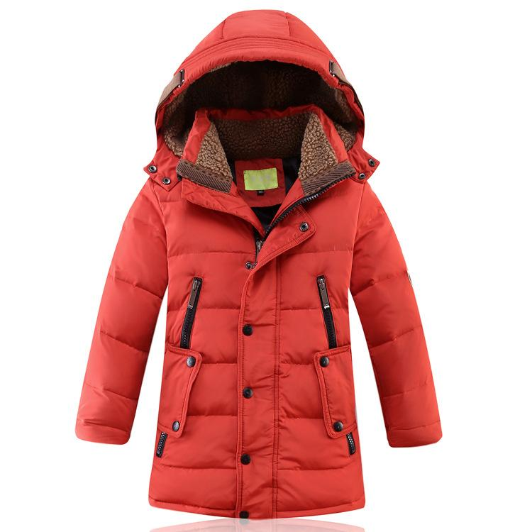 - -30 Degree Children's Winter Jackets Duck Down Padded Children Clothing 2018 Big Boys Warm Winter Down Coat Thickening Outerwear - Orange / 10  jetcube
