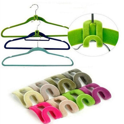 - 10 Pices/Pack Mini Flocking Clothes Hanger Easy Hook Closet Creative Storage Organizer Clothes Pegs -   jetcube